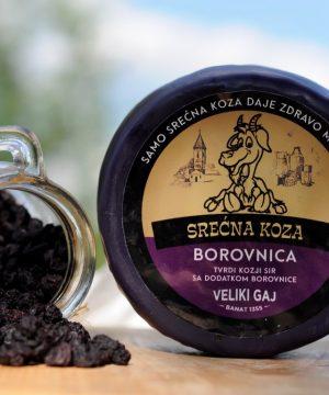 Kozji polutvrdi sir sa borovnicama 350gr Srećna Koza