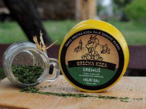 Kozji polutvrdi sir sa sremušem 350gr Srećna Koza